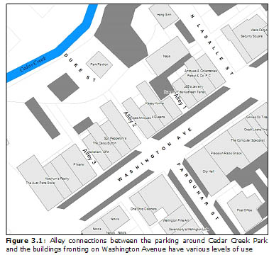 Figure 3.1: Alley connections between the parking around Cedar Creek Park and the buildings fronting on Washington Avenue have various levels of use