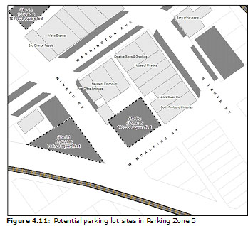 Figure 4.11: Potential parking lot sites in Parking Zone 5