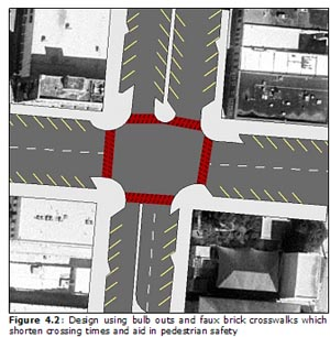Figure 4.2: Design using bulb outs and faux brick crosswalks which shorten crossing times and aid in pedestrian safety
