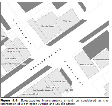 Figure 4.4: Streetscaping improvements should be considered at the intersection of Washington Avenue and LaSalle Street