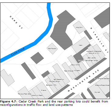 Figure 4.7: Cedar Creek Park and the rear parking lots could benefit from reconfigurations in traffic flow and land use patterns