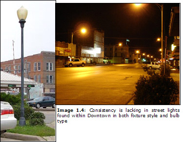 Image 1.4: Consistency is lacking in street lights found within Downtown in both fixture style and bulb type