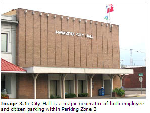 Image 3.1: City Hall is a major generator of both employee and citizen parking within Parking Zone 3