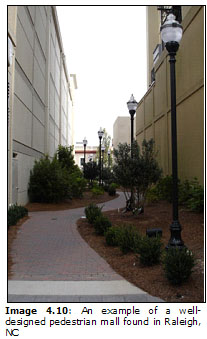 Image 4.10: An example of a well-designed pedestrian mall found in Raleigh, NC