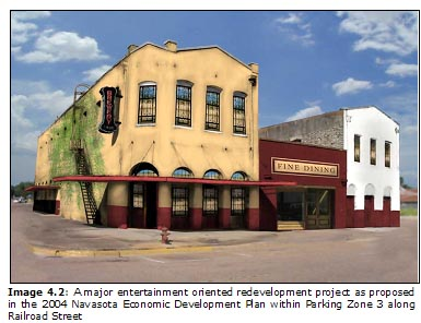 Image 4.2: A major entertainment oriented redevelopment project as proposed in the 2004 Navasota Economic Development Plan within Parking Zone 3 along Railroad Street