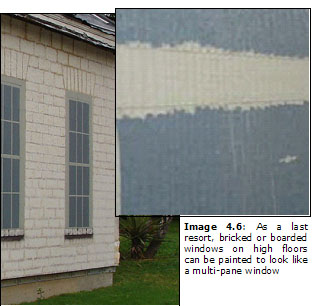 Image 4.6: As a last resort, bricked or boarded windows on high floors can be painted to look like a multi-pane window