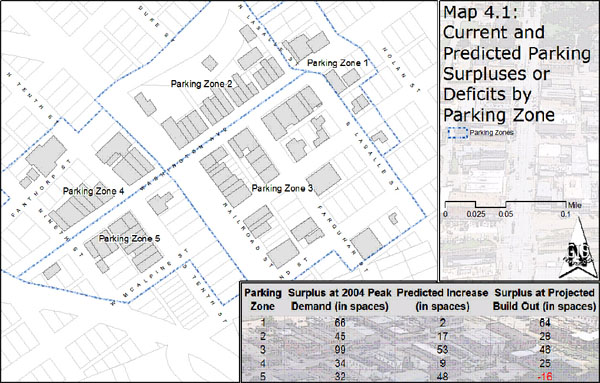 Map 4.1: Current and Predicted Parking Surpluses or Deficites for Downtown Navasota
